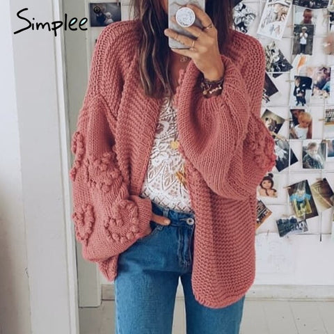 Loose women knitted cardigans Oversized lantern sleeve heart crochet jumper Autumn winter female knitting cardigan coats