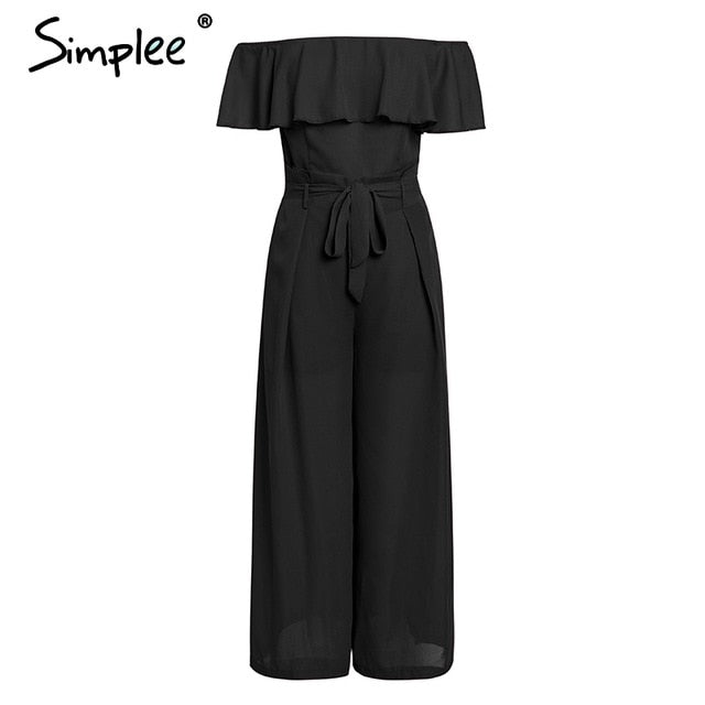 Elegant off shoulder women long jumpsuit Summer ruffles sashes chiffon black jumpsuit Sexy party wide leg female overall
