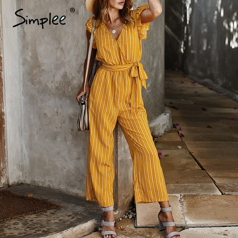 Elegant striped print women jumpsuits Ruffle sleeve v neck cotton jumpsuit romper Streetwear sash ladies pocket overalls
