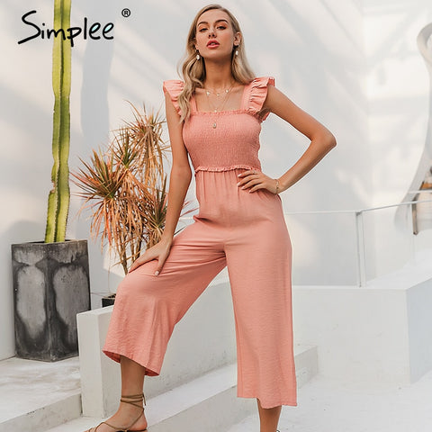 Elegant ruffle pleated women jumpsuit Casual straps female wide leg jumpsuits romper Spring summer ladies overalls 2020