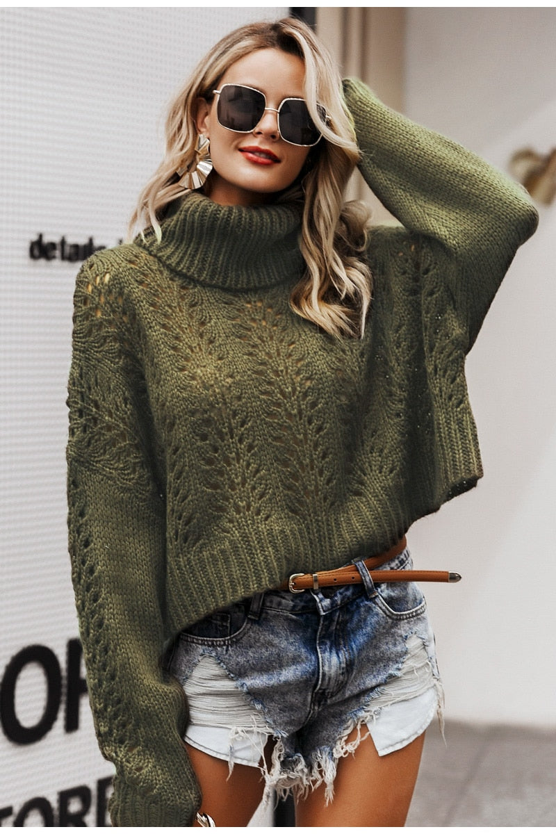 Turtleneck hollow out knitted sweater women pullover Drop long sleeve lady sweater Casual streetwear winter pull femme