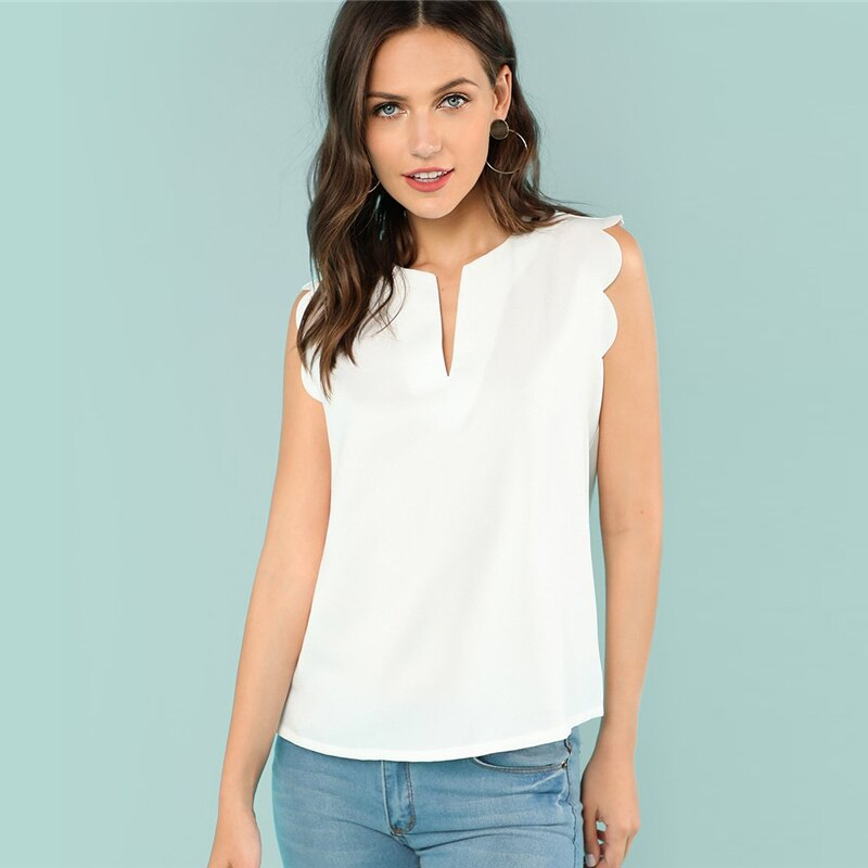 Sleeveless V-Neck Scallop Casual Top Summer Regular Fit Elegant Blouse Beige Solid Shirt For Women Trim Shell Top