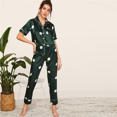 Print Satin Spring Summer Pajamas Women Clothes 2019 Short Sleeve Long Pants Sleepwear Casual Pocket Ladies Pajama Set