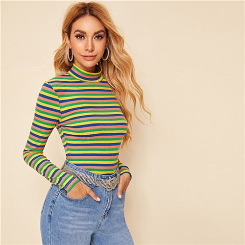 Multicolor Stand Collar Striped Ribbed Knit Casual T-Shirt Women Tops 2019 Autumn Long Sleeve Form Fitted Stretchy Tees