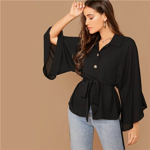 Burgundy Kimono Sleeve Gold Button Belted Shirt Blouse Women Spring Autumn Solid Casual Oversized Tops and Blouses