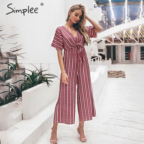 Vintage striped v neck long jumpsuit Summer sashes short sleeve overalls Elegant wide leg office ladies jumpsuits romper