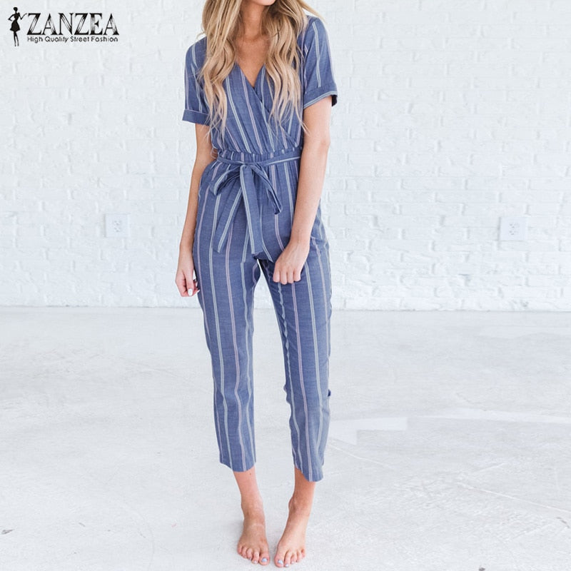 Women Summer V Neck Short Sleeve Striped Jumpsuits Cotton Linen Rompers Casual Elegant Office Bow Tie Long Overalls