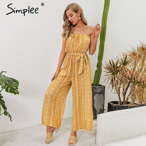 Strapless women print jumpsuit romper Sashes lace up female wide leg jumpsuits Summer holiday beach ladies overalls 2020