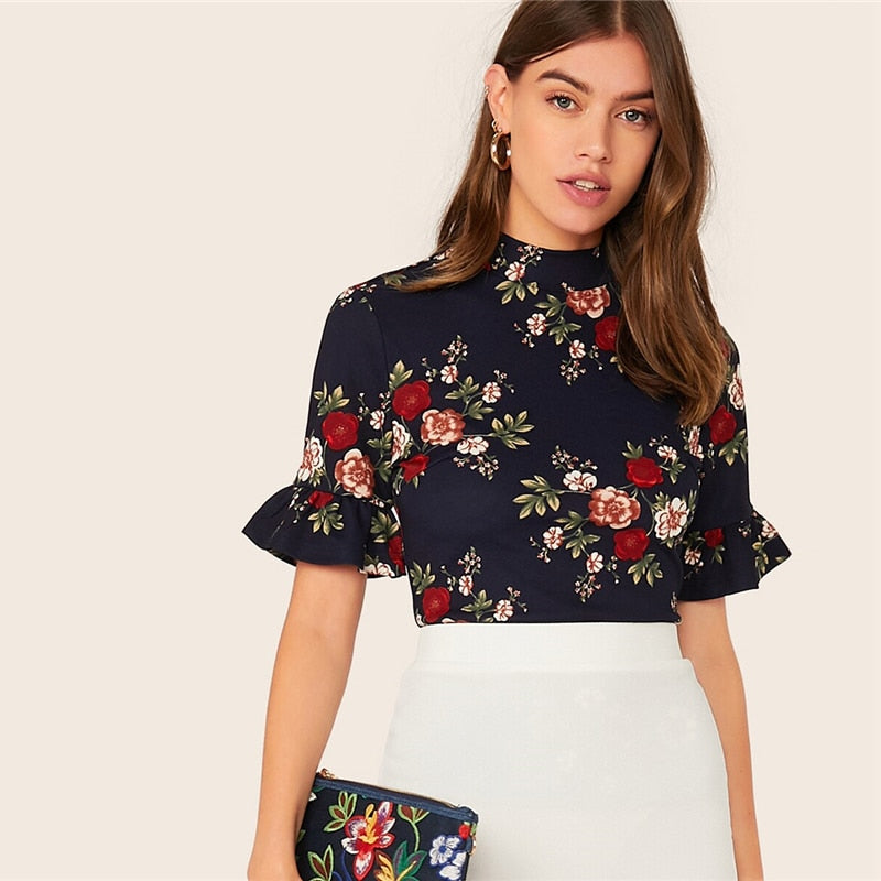 Abaya Navy Mock-Neck Ruffle Cuff Floral Print Tee Top Women Summer Flounce Sleeve Ladies Slim Fit Elegant Tshirt Tops