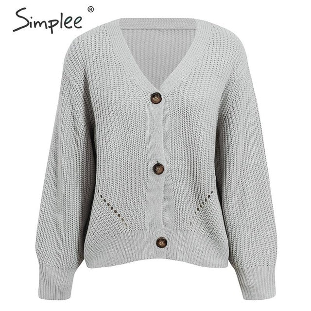Sexy v-neck knitted women cardigan Casual solid button bat sleeve sweater cardigan Elegant autumn ladies sweater tops