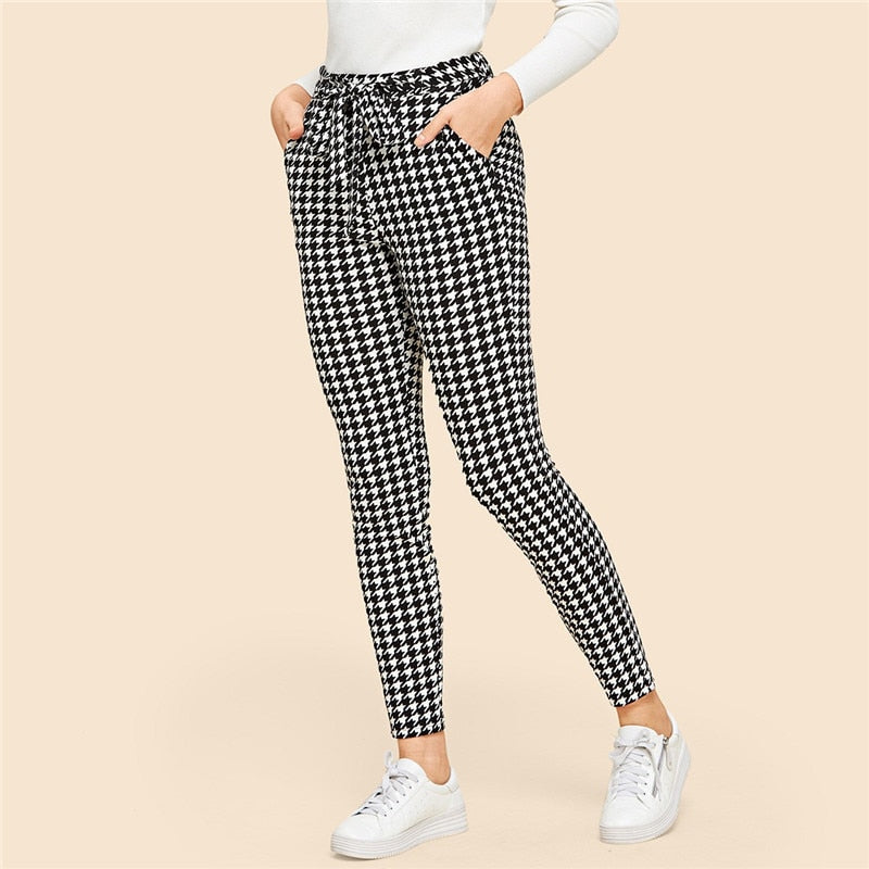 Drawstring Waist Houndstooth Pants Mid Waist Straight Leg Pants 2019 Autumn Casual Women Trousers