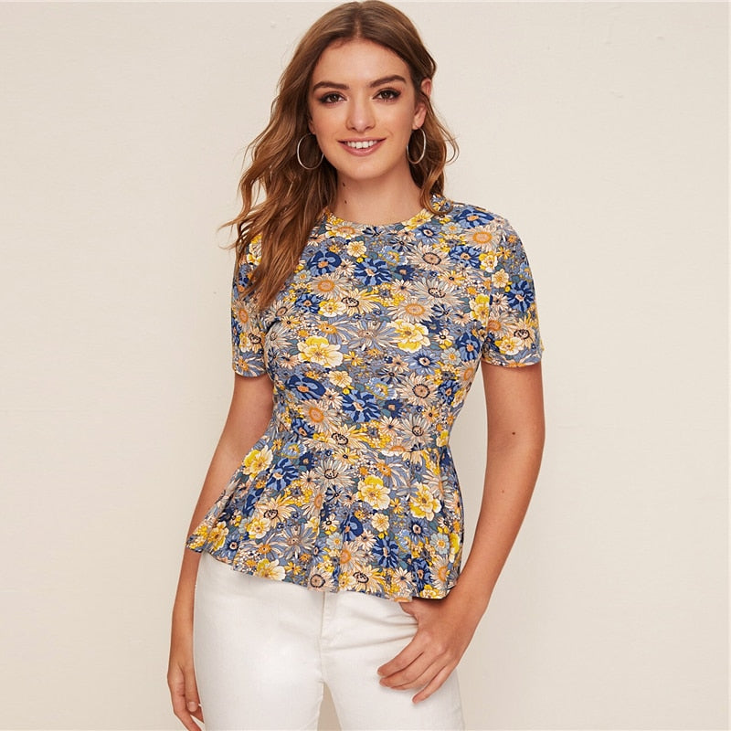 Multicolor Floral Print Peplum Short Sleeve Top Women 2020 Summer Flared Ruffle Hem O-neck Womens Blouses and Tops