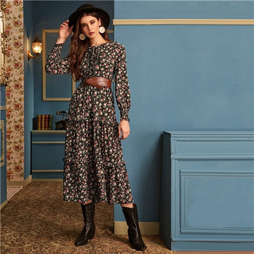Ditsy Floral Print Frill Trim Flared Dress Without Belt Women Autumn Long Sleeve High Waist Ladies Elegant Long Dresses
