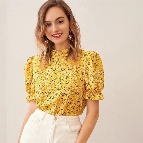 Ditsy Floral Frill Neck Puff Sleeve Top Keyhole Back Blouse Women 2020 Summer Elegant Office Lady Tops and Blouses