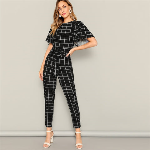 Black Flutter Sleeve Belted Grid Print Zipper Jumpsuit Spring Mid Waist Casual Round Neck Highstreet Women Jumpsuits