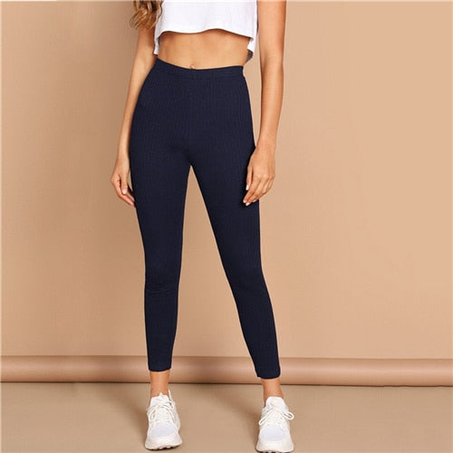 High Waist Rib Knitted Solid Casual Leggings Women Spring Autumn Stretchy Fitness Midi Waist Skinny Basics Crop Leggings