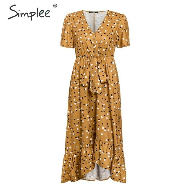 Polka dot women dress Ruffled short sleeve v neck long boho dress Summer puff sleeve button bow holiday party midi dress