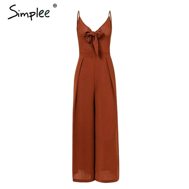 Bow tie adjustable women jumpsuit Elegant solid spring 2019 long jumpsuit Chic wide leg casual streetwear sexy jumpsuit