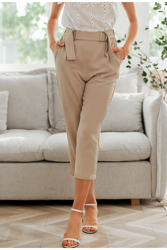 Pleated polyester office lady pants Mid waist casual cropped  trousers women Decorative belt female pencil pants