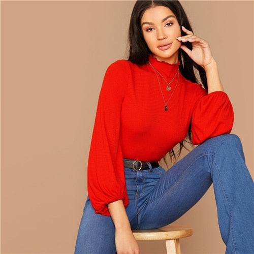 Stand Collar Lantern Ruched Sleeve Rib-knit Crop Tee Without Necklace Women Autumn Solid Elegant Office Ladies T-shirts
