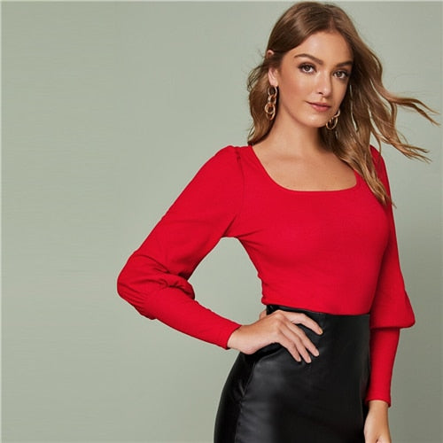Solid Leg-of-mutton Sleeve Top Slim Fitted Tee Autumn Scoop Neck Solid Office Ladies Elegant T-shirts