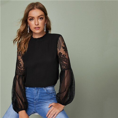 Frilled Neck Lace Sheer Elegant Blouse Top Women 2019 Spring Autumn Stand Collar Bishop Sleeve Tops And Blouses