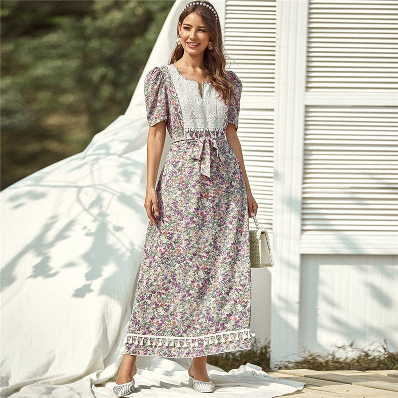 Multicolor Floral Print Contrast Panel Belted Dress Women 2020 Summer Puff Sleeve High Waist A Line Bohemian Long Dresses