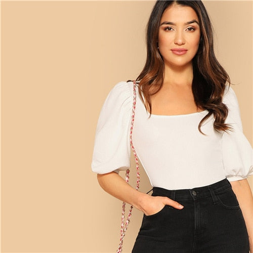 Puff Sleeve Solid Fitted Tee Elegant Square Neck 3/4 Sleeve 2019 Summer Tops Modern Lady Women Plain Casual T-shirt