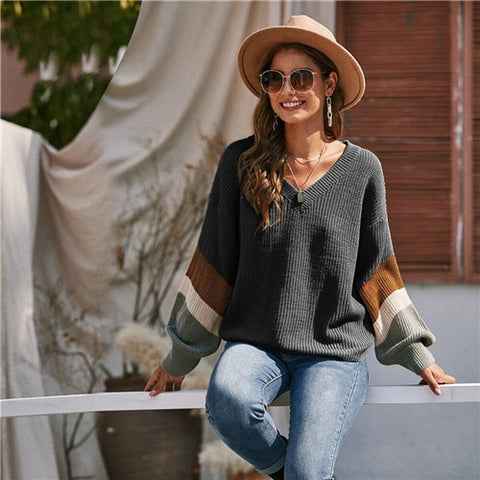 V Neck Drop Shoulder Colorblock Casual Sweater Women Tops Autumn Winter Streetwear Long Sleeve Basic Ladies Sweaters