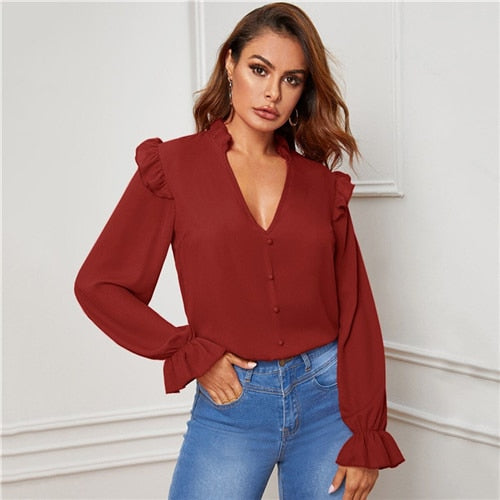 Red Ruffle Trim Buttoned Front V Neck Blouse Top Women Spring Autumn Sheer Blouses Flounce Long Sleeve Solid Elegant Tops