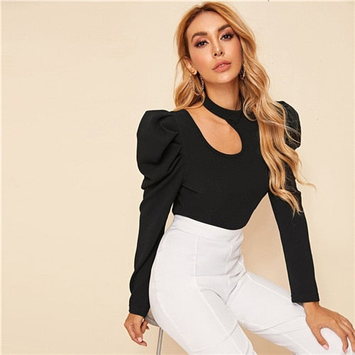 Black Solid Stand Collar Cut Out Elegant Blouse Women Top 2019 Autumn Leg-Of-Mutton Sleeve Button Back Form Fitted Blouses