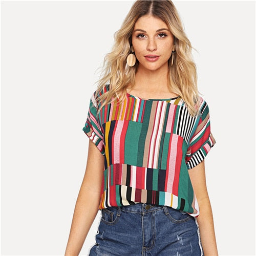 Multicolor Mix Striped Print Rolled Up Tshirt Casual Loose Scoop Neck Colorblock T Shirt Women Summer Short Sleeve Tops