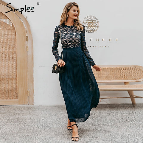 Elegant lace dress women Embroidery pleated o neck long plus size dresses female Autumn winter lady sexy party vestidos