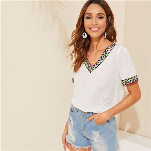 Black or White V Neck Aztec Embroidered Tape Trim Tee Short Sleeve T Shirt Women 2019 Summer Soft Boho Casual Tops