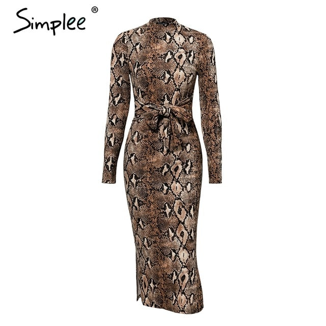 Sexy leopard print women long dresss  Autumn long sleeve sashes bodycon stretch dresses Elegant party female vesitidos