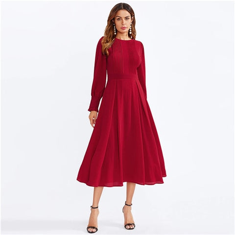 Frilled Cuff Pleated Panel Fit And Flare Maxi Dress Women Spring Elegant Solid High Waist A Line Long Dress Party Dress