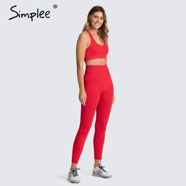 Simplee 2 Piece Set Workout Clothes for Women Sports Top and Leggings Set Sports Wear for Women Gym Clothing Athletic Set