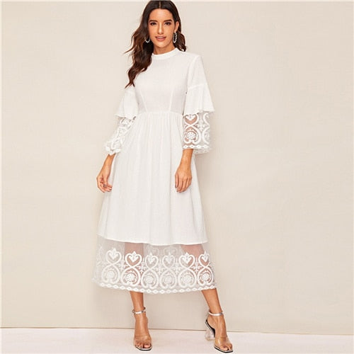 Elegant Mock-Neck Embroidery Organza Cuff and Hem Long Dress Women Autumn Fit and Flare Dress Empire Abaya Dresses