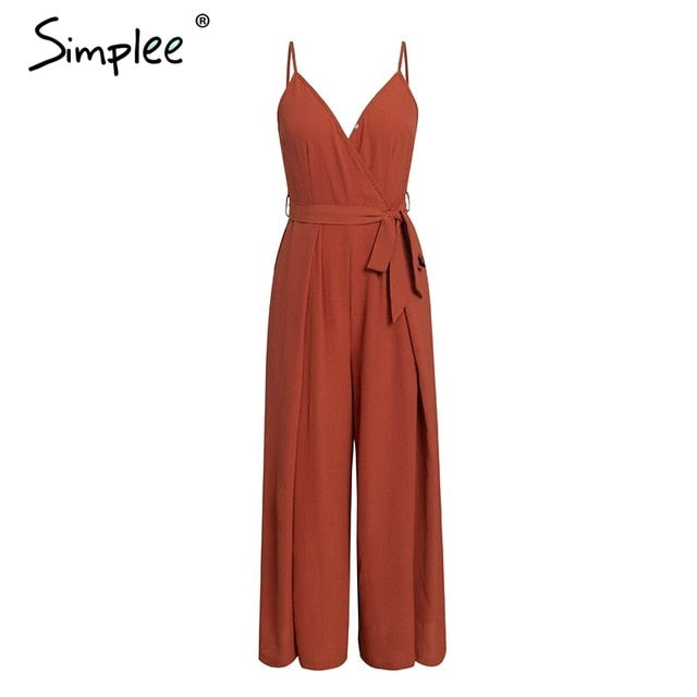 Sexy floral print jumpsuits women V neck split spaghetti strap long overalls  Summer beach loose female  jumpsuit 2019