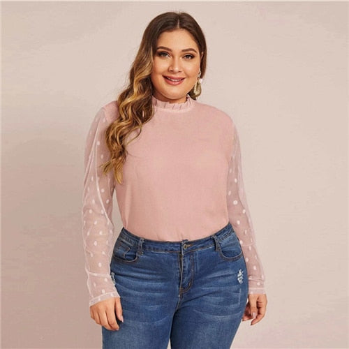 Plus Size Black Frill Neck Sheer Dobby Mesh Sleeve Curved Hem Blouse Women Office Lady Elegant Plus Tops and Blouses