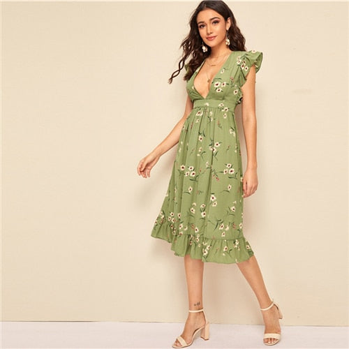 Floral Ruffle Trim Split Thigh Hem Belted Long Dress Women Summer Deep V Neck Sleeveless A Line Sexy High Waist Dresses