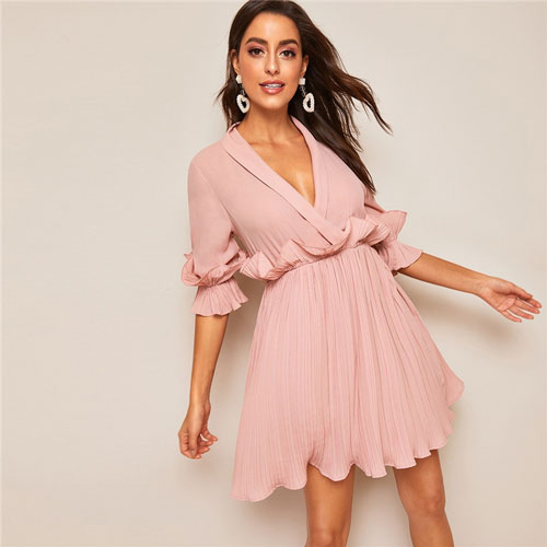 Pleated Ruffle Trim Plunging Neck Wrap Sexy Dress Women Spring Summer Half Sleeve High Waist A Line Mini Dress