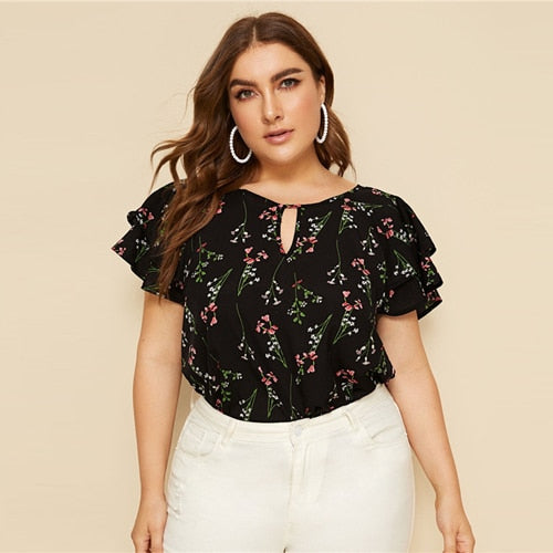 Plus Size Choker Neck Layered Ruffle Sleeve Botanical Top Blouse 2019 Women Summer Casual Floral Print Cut Out Blouses