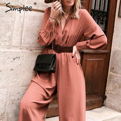 Elegant v neck long sleeve women jumpsuit Sashes pocket loose casual summer ladies overalls Party club fashion jumpsuits