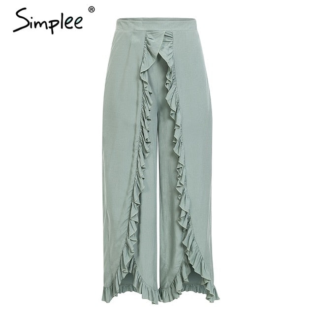 Simplee Sexy ruffles casual women pants capri High waist baggy split summer pants female Ladies wide leg trousers bottom 2019