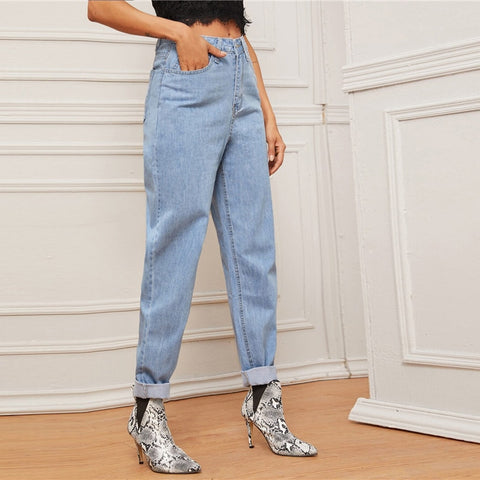 Pastel Blue Light Wash Mom Jeans Without Belt Woman Spring Autumn Casual High Waist Jeans Denim Tapered Long Pants