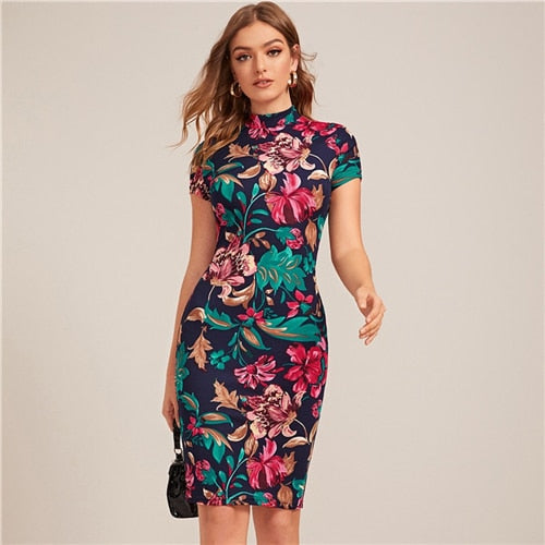 Multicolor Mock-Neck Form Fitted Floral Print Dress Women Spring Cap Sleeve Bodycon Elegant Pencil Midi Dresses