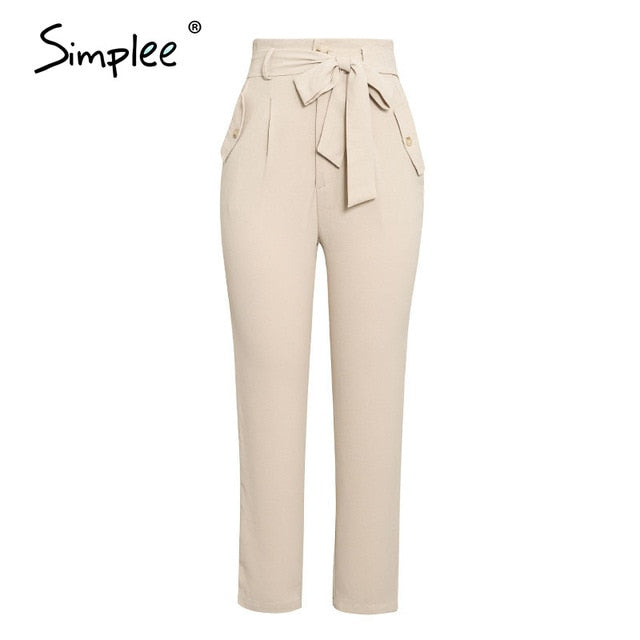 Simplee Solid casual harem pants female trousers High waist office ladies adjustable waist belt pants Loose cropped women pants