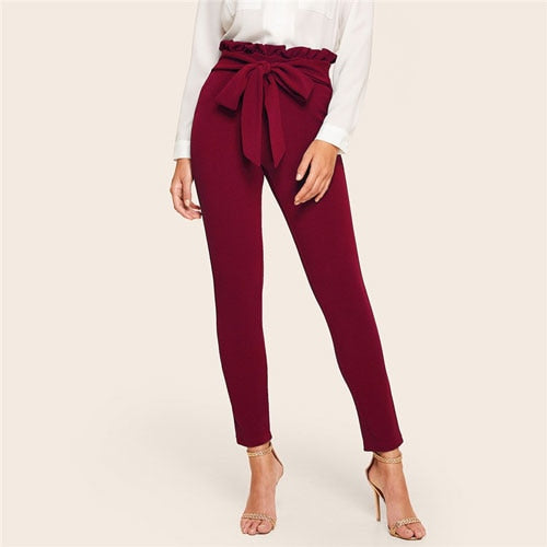 Elegant Frill Trim Bow Belted Detail Solid High Waist Pants Women Clothing Fashion Elastic Waist Skinny Carrot Pants