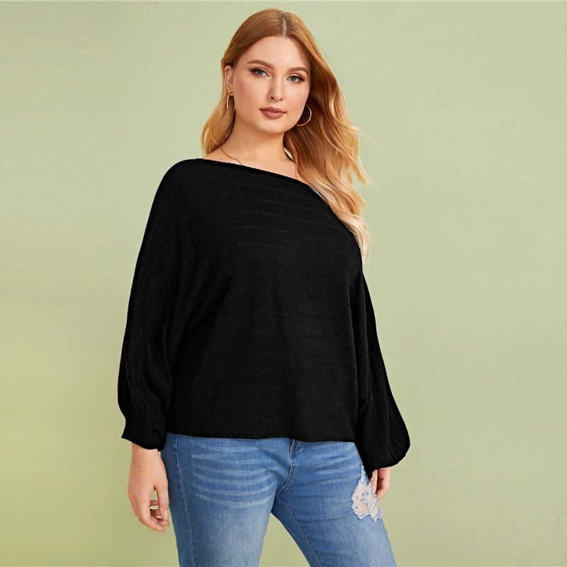 Plus Size Black Asymmetrical Neck Drop Shoulder Oversized Sweater Pullover Women Autumn Batwing Sleeve Casual Sweaters